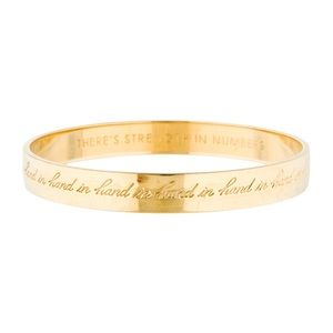 "Kate Spade ""Strength in Numbers"" gold idiom bangle"